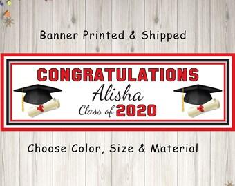 Class of 2020 Graduation Banner Personalized Backdrop Model B thm