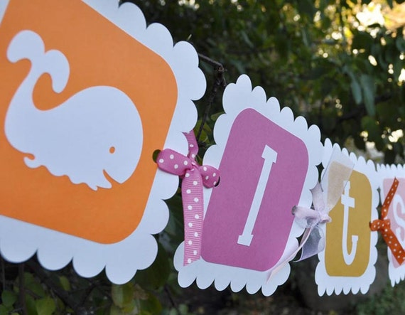 Whale Baby Shower Banner Girls Baby Shower Pink And Orange Etsy