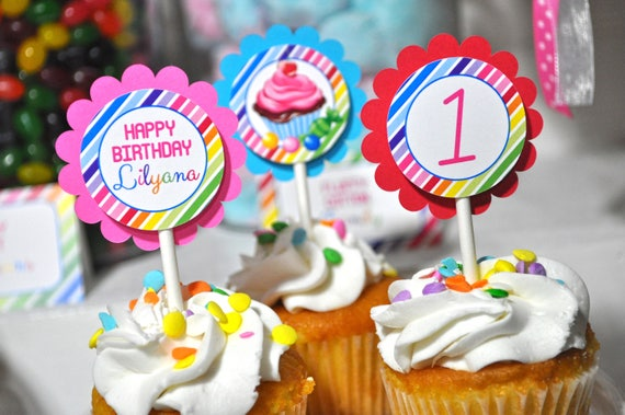 Cupcake Toppers Candy Sweet Shoppe Birthday 1st