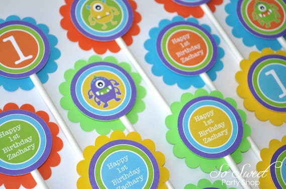 Monster Birthday Cupcake Toppers Monsters Aliens Boys 1st Decorations Party Kids Ideas