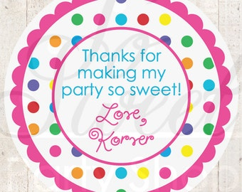 Birthday Stickers, Thank You Favors, 1st Birthday, Rainbow Party, Goodie Bag Stickers, Treat Bag Stickers, Colorful Polkadots - Set of 24