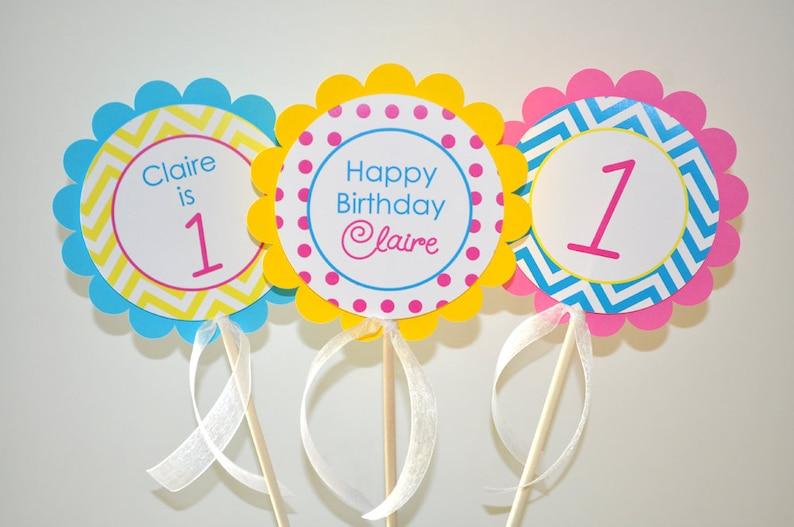Girls 1st Birthday Centerpiece Sticks Chevron