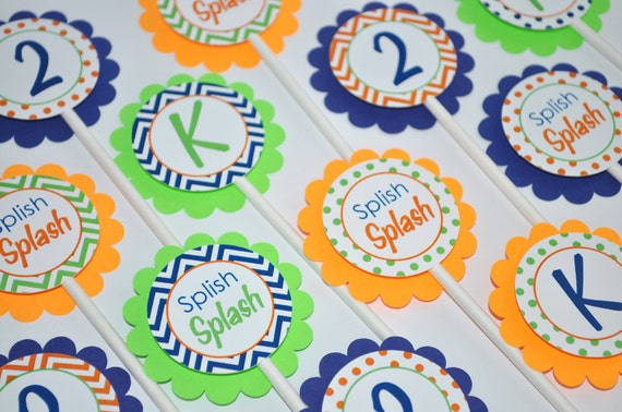 Boys Birthday Cupcake Toppers 1st Party