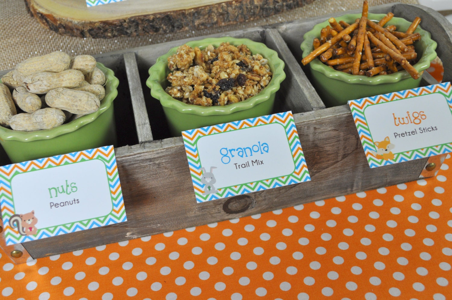 woodland baby shower food label tent cards placecards