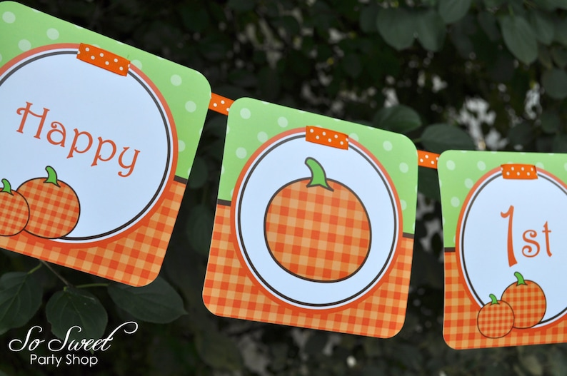 Pumpkin 1st Birthday MINI Banner Halloween Birthday Party Decorations Little Pumpkin