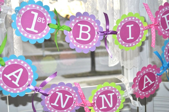 Pink And Purple First Birthday Decorations  from i.etsystatic.com