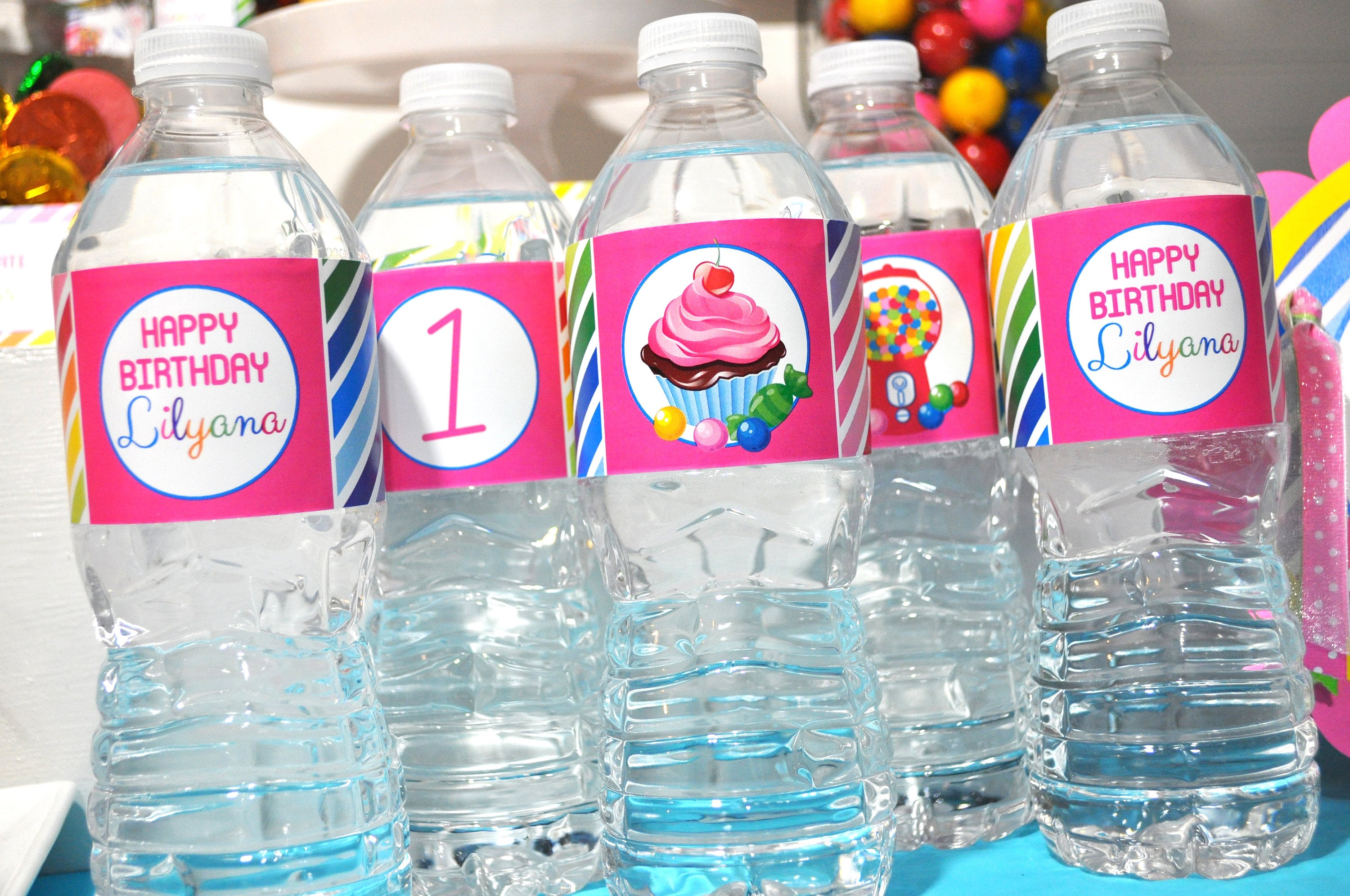 Water Bottle Labels Candy Sweet Shoppe 1st Birthday Rainbow