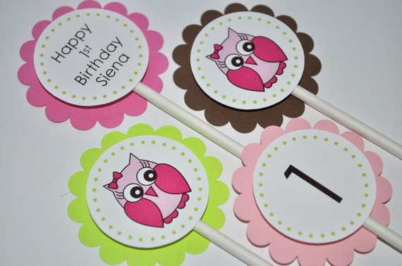 Girls Owl Birthday Cupcake Toppers 1st Party Decorations Woodland Ideas Pink Green