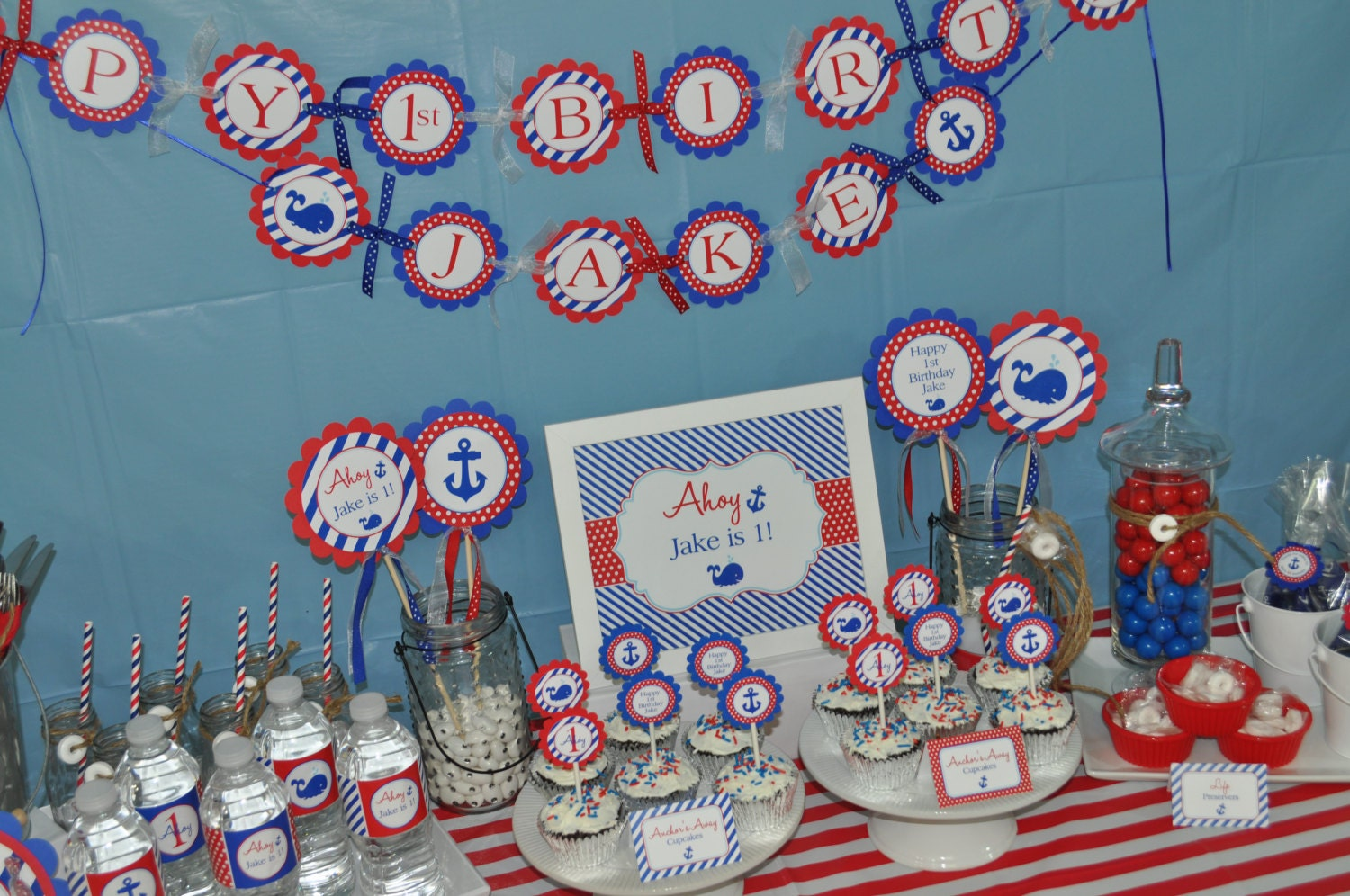 Nautical 1st Birthday Banner Boys Decorations