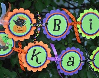 Halloween Happy Birthday Banner, 1st Birthday Banner, Halloween Party Decorations, Pumpkin Birthday Banner, Trick or Treat Party Banner