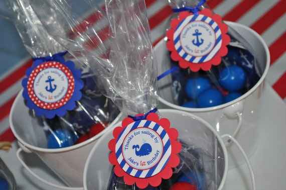 Nautical 1st Birthday Favor Tags Party Favors Boys