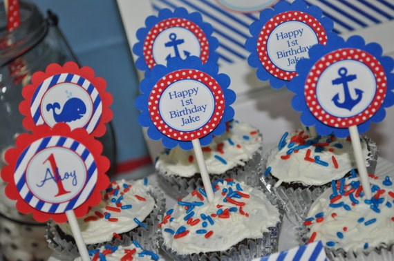 Nautical 1st Birthday Cupcake Toppers
