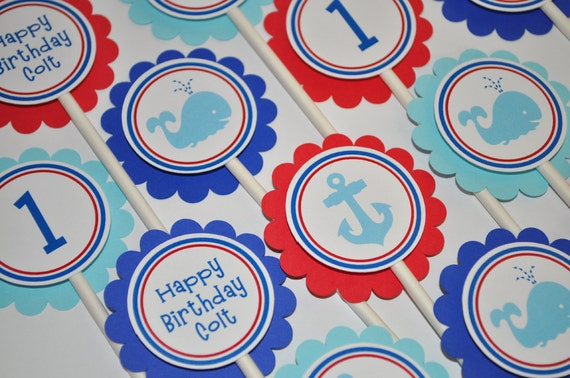 Nautical 1st Birthday Cupcake Toppers Whale Anchor Decorations Boys Kids Party Ideas Red White Blue