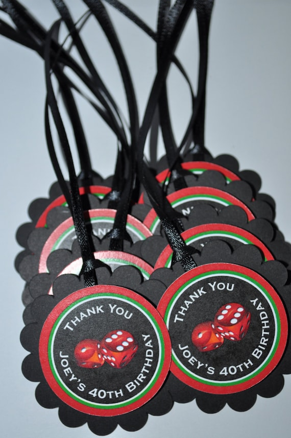 40th Birthday Party Favor Tags Casino Favors