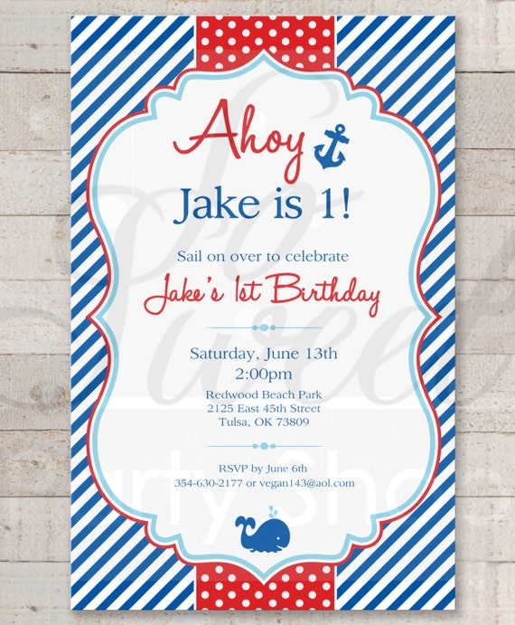 Nautical 1st Birthday Invitations