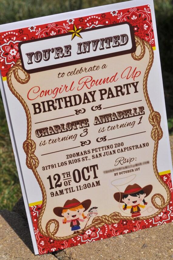 Cowgirl Birthday Party Invitations Cowgirl Birthday