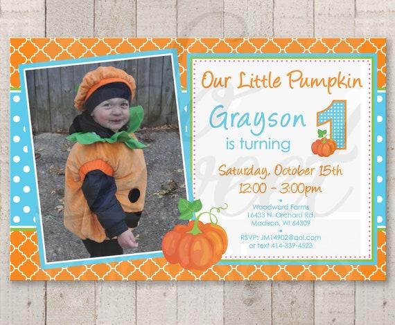Boys Pumpkin 1st Birthday INVITATIONS Boy Little