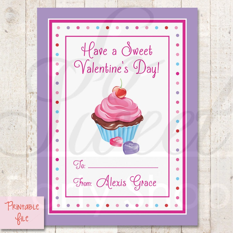 photograph relating to Printable Valentine Day Cards for Kids named PRINTABLE Youngsters Valentines Working day Playing cards, Clroom Valentines, Cl Bash, Cupcake Valentines, Do it yourself Printable Valentine Playing cards - Electronic Document