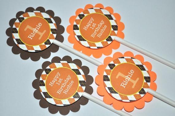Argyle Birthday Cupcake Toppers Argyle Halloween Autumn Birthday