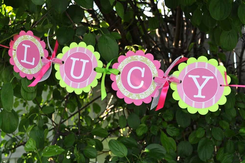 Girls 1st Birthday Decorations Girls Birthday Favor Tags Set of 12 Birthday Thank You Tags Pink and Green Party Favors