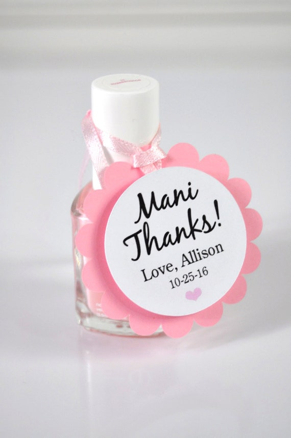 Mani Thanks Favor Tags Pink Baby Shower Favor Tags Bridal Shower