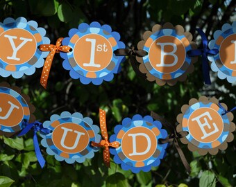Boys 1st Birthday Banner, Boys Birthday Party Decorations, Party Banner, Personalized Party Decor, Blue, Orange and Brown Polkadots