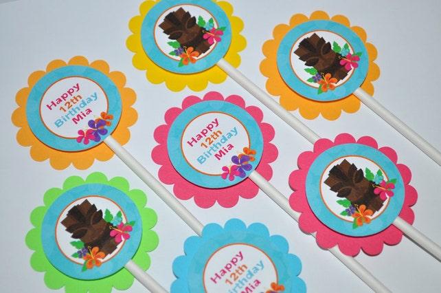 Luau Birthday Cupcake Toppers Hawaiian Decorations Tiki Party 1st Personalized