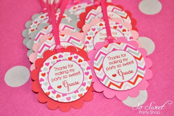 Valentine Favor Tags Girls Valentine/'s Day Birthday Party February Birthday Heart 1st Birthday Heart Birthday Decorations Set of 12