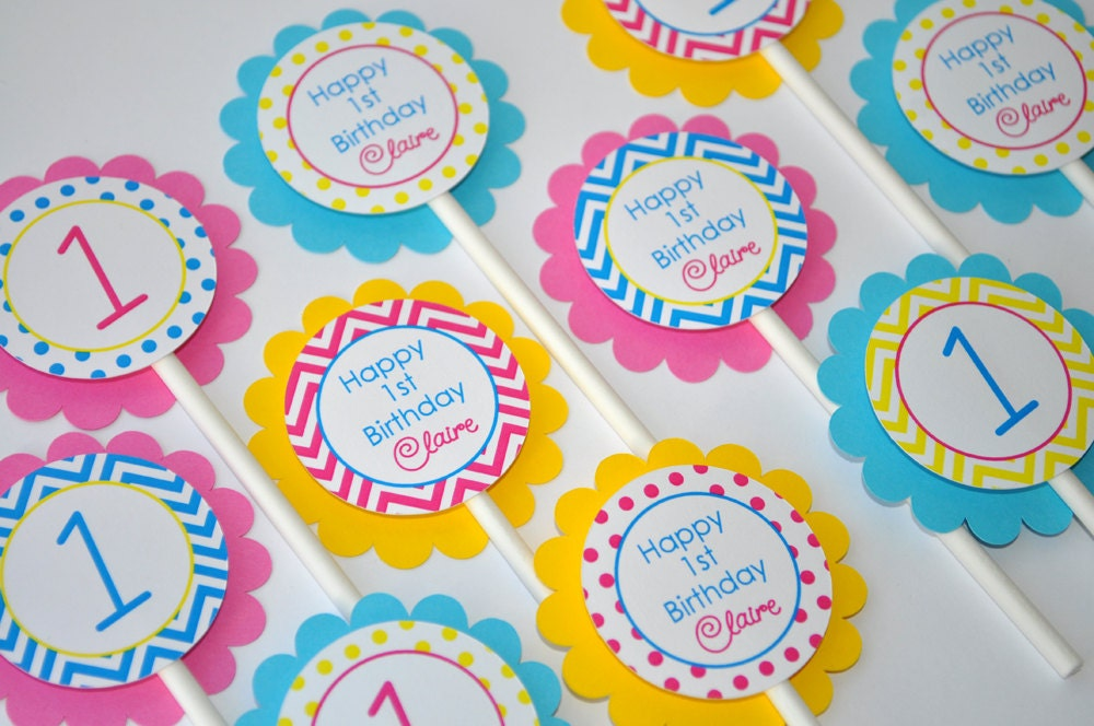 Girls Birthday Cupcake Toppers 1st Decorations