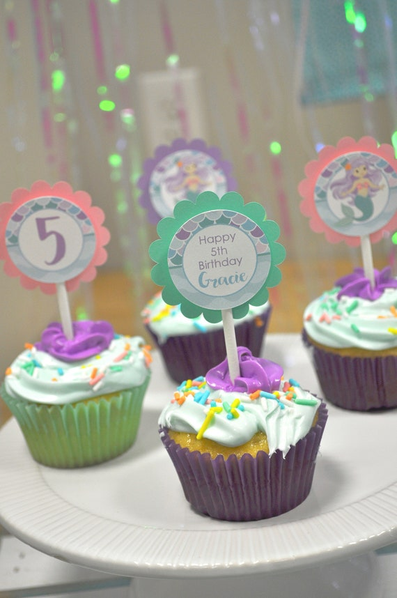 Cupcake Toppers Mermaid Birthday Girls Party Decorations 1st Under The Sea