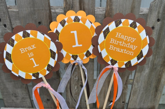 Argyle Birthday Centerpiece Sticks Halloween Autumn Birthday