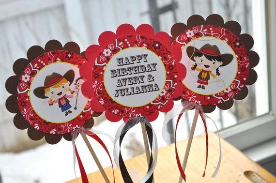 Cowgirl Birthday Centerpiece Sticks