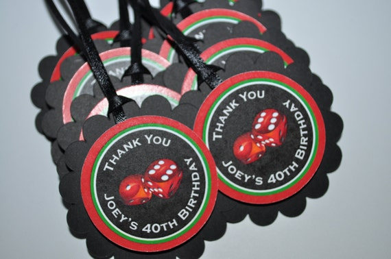 40th Birthday Party Favor Tags Casino Favors Dice Thank You Mens Set Of 12