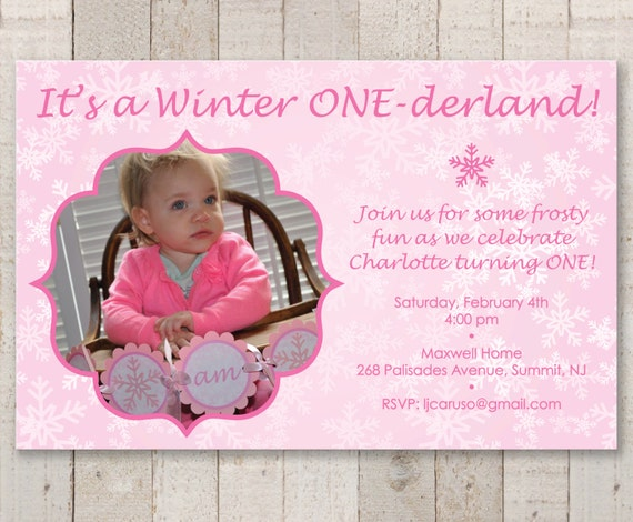 Snowflake 1st Birthday Invitations Girl Birthday Party Invitations
