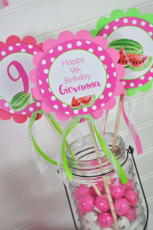 Sandía cumpleaños centro de mesa palillos decoraciones de