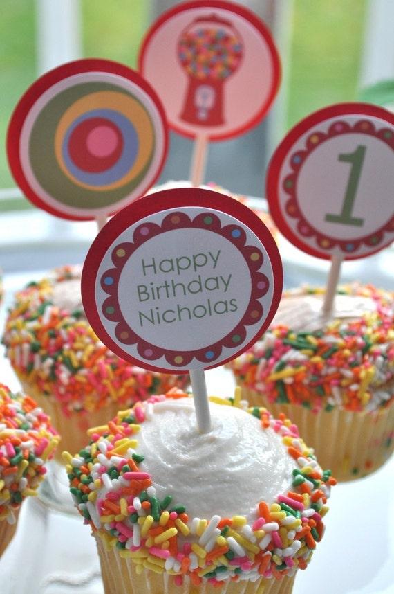 Bubblegum Birthday Cupcake Toppers 1st Kids Ideas Rainbow Boys Decorations