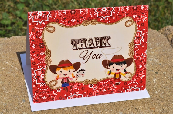 Cowgirl Birthday Party Thank You Cards Cowgirl Birthday
