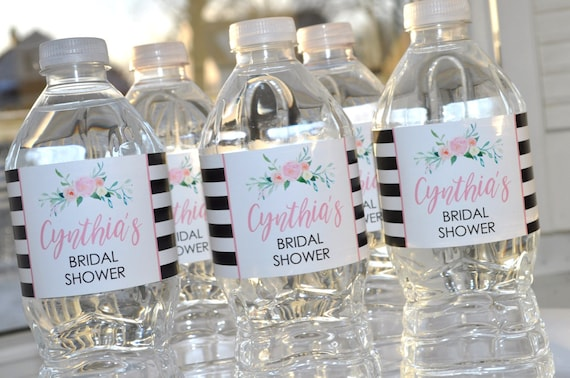 100/% Waterproof Labels Personalized Party Favors 2x8 self-stick labels Personalized Gold Stripe Wedding Water Bottle Labels