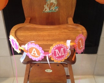 Highchair Banner - 1st Birthday Banner - I am 1 Banner - Polkadots Orange, Pink and White - Birthday Party Decorations