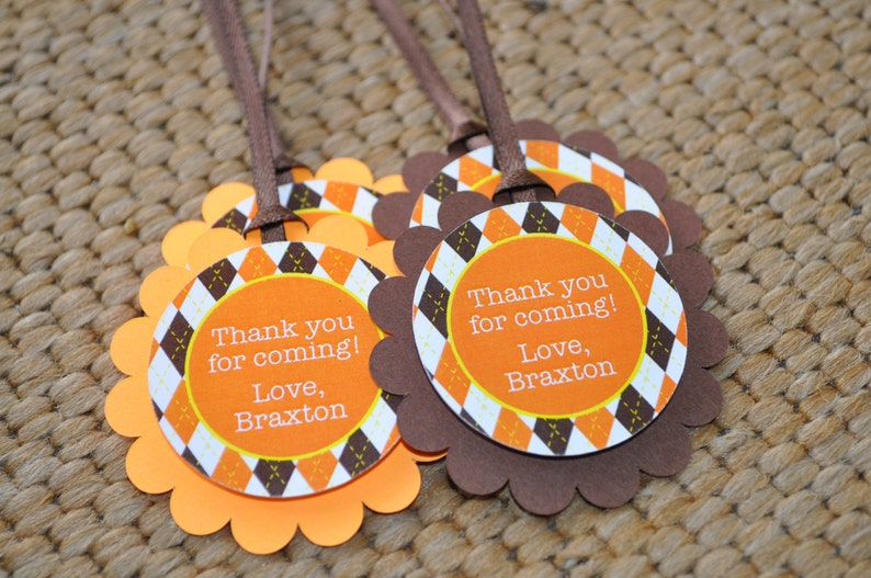 Argyle Birthday Favor Tags Thank You Tags Party Favors Boys Etsy