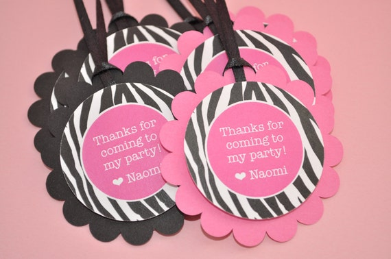Birthday Favor Tags Thank You Goodie Bag Party