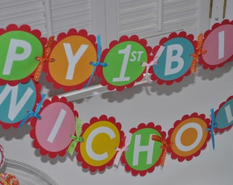 Happy 1st Birthday Banner - Colorful Bubblegum Theme - Birthday Party Decorations