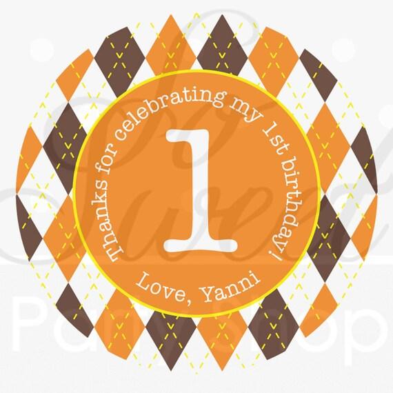 24 Argyle Happy Birthday Favor Sticker Labels Halloween Autumn