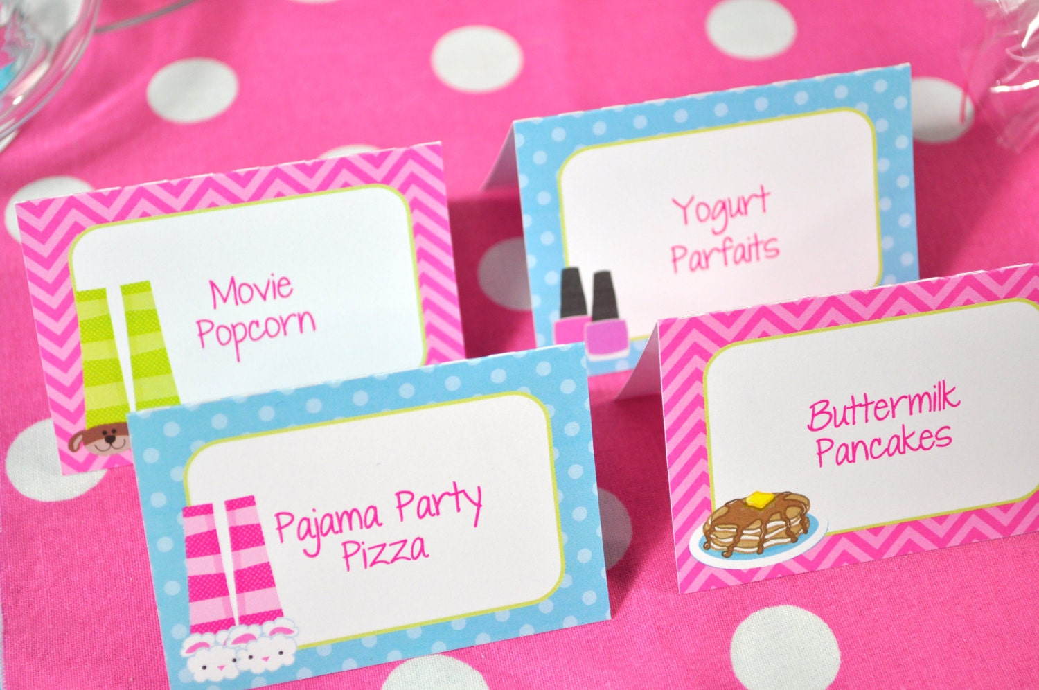 Slumber Party Food Label Cards Buffet Labels Pajama Party