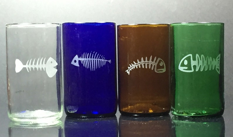 Set of Four - Recycled Glass - Beer Bottles - Repurposed - Upcycled - Juice  Glasses - Fish Skeleton - Dead Fish - Engraved