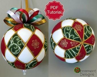 Christmas Ornament Tutorial - Pattern - DIY - No Sew - Harlequin