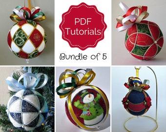 Christmas Ornament 5 Tutorial Bundle - Patterns - Instructions - DIY - No Sew