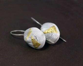 Geometric dangle earrings Keum boo ethnic earrings Modern silver and gold earrings African style earrings
