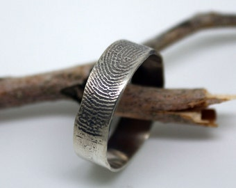 925 sterling silver custom  fingerprint ring with 6mm wavy rim, unique wedding, commitment finger print band, man or woman's OOAK ring