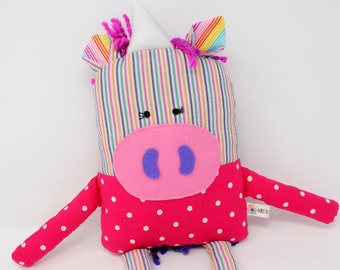 Unicorn-Plush Unicorn-Stuffed Unicorn-Unicorn Doll-Toy Unicorn-Unicorn Softie-Child's Gift-Birthday Gift-Girl Gift-UpCycled-Pink-Rainbow